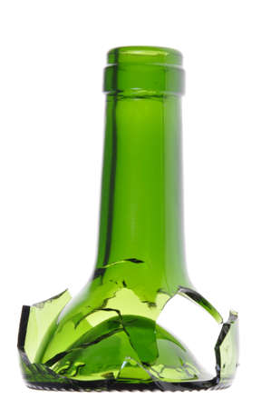 Broken green wine bottle, danger  photo