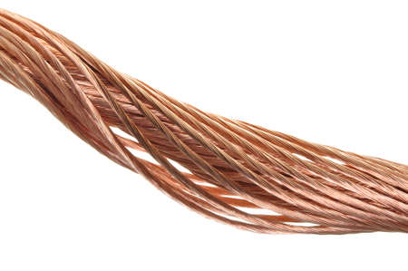 Copper wire, the concept of the energy industry Stock Photo