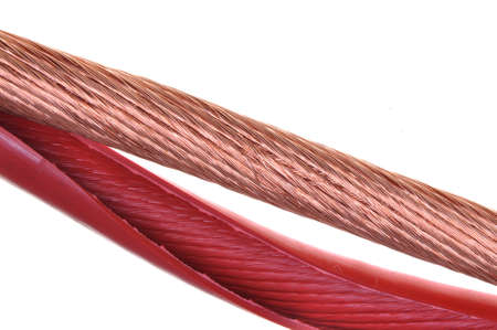 The cleared electric power cable copper with red plastic  photo