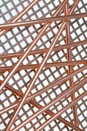 Copper wire on metal grid Stock Photo - 17259206
