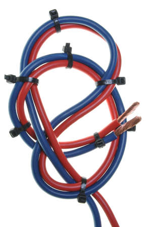 Blue and red cord used on electrical installations Stock Photo - 17259222
