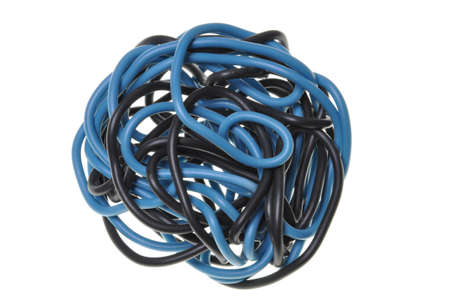 Blue and black ball of cord used on electrical installations  photo