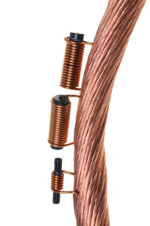 Copper coils and wires, the idea of electric energy consumption photo