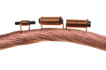 Copper coils and wires, the idea of electric energy consumption Stock Photo - 17259233