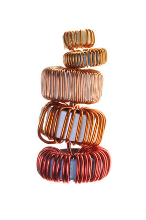 Copper coils isolated on white background  photo