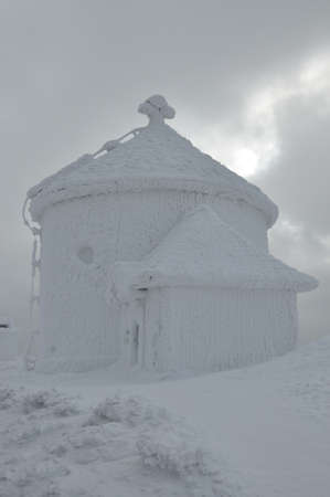 sudeten: Frozen chapel St Lawrence at the top of the Sniezka Sudetes
