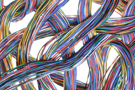 Multicolored computer cables isolated on white background  photo