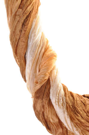 Brown silk draped on a white background  photo