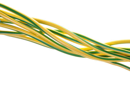earthing: Yellow green electrical grounding cables