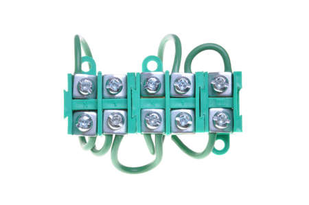 connection block: Electrical terminal block with cables, power connection
