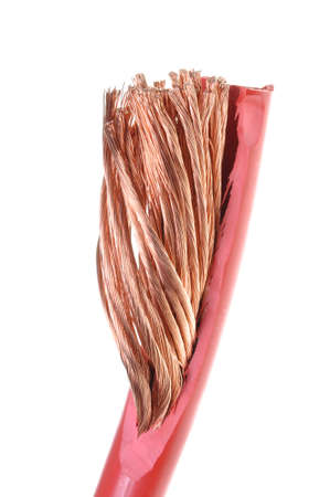 cleared: Cleared copper cable isolated on white background