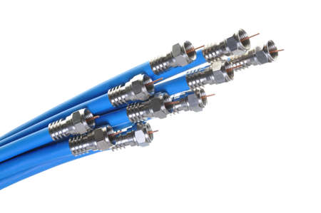 Bunch of blue coaxial cables with connectors