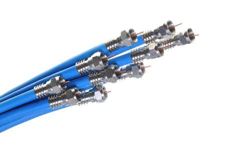 Stelletje blauwe coaxiale kabels met connectoren