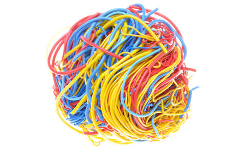 Ball of tangled cables isolated on white background  Stock Photo