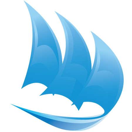 yacht race: Vector s�mbolo del barco de vela