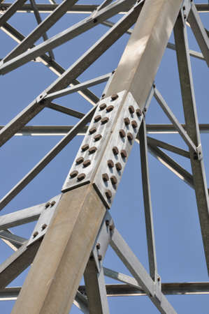 i beam: Steel structure truss against the sky Stock Photo