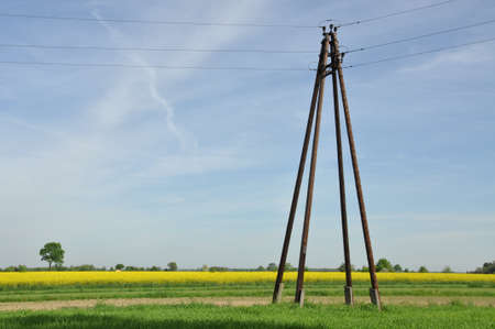 High wooden electric pillar in the field  photo