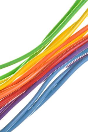 Farbe Netzwerkkabel Isoliert Auf Weißem Hintergrund In Form Von ...