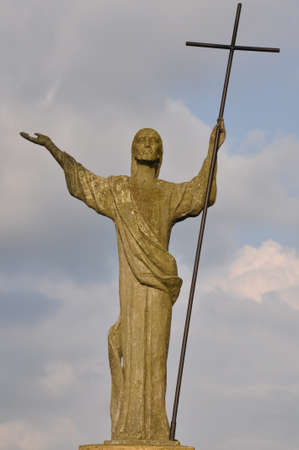 Statue of Christ the Savior against the sky Stock Photo