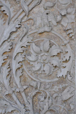 Marble ornament plant the columns of cathedral Mantova  photo