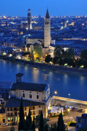 Night view of the city of Verona Italy  photo