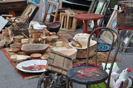 Flea market with old wooden items