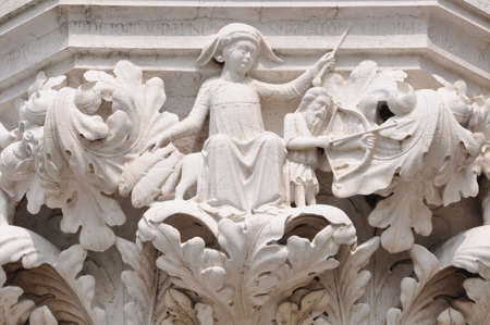 marco: Column capital Doge s Palace in Venice Italy