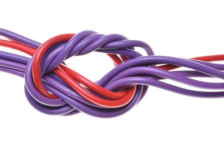 Electric colored wires with knot  photo