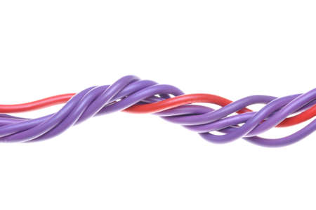 Colored wires used in electrical networks  Stock Photo