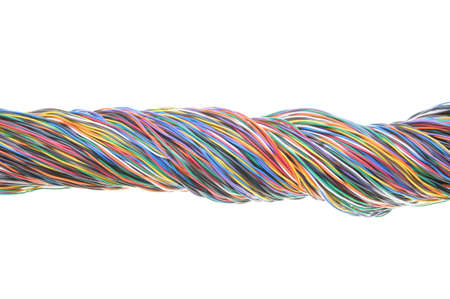 Bundle of electric cables isolated on white background  photo