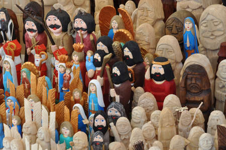 statuette: Wooden angels and saints in the handicraft market in Cracow