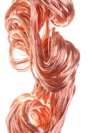 Red copper wire, industrial object on a white background  photo