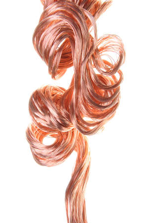 variability: Red copper wire, industrial object on a white background