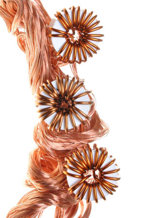 Copper wire with coil, power consumption in the industry  photo