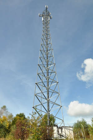 Telecommunication tower above the trees photo