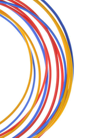 cable tangle: Colored wires used in electrical and computer networks