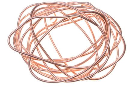 Copper wire on white background  photo