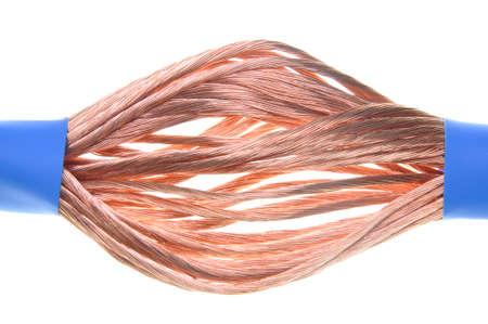 cables electricos: Cables el�ctricos aislados en un fondo blanco