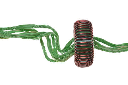 Green energy, copper cable with coil  photo
