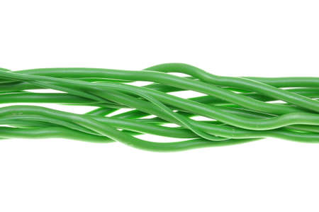 Bunch of green electrical cables photo