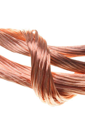 energy industry: Concept of the energy industry copper wires isolated on white  Stock Photo
