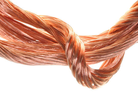 Concept of the energy industry copper wires isolated on white  photo