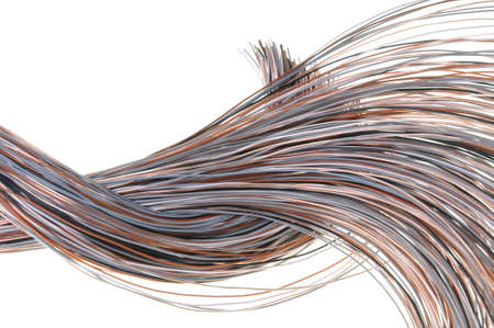 Cables of telecommunication network isolated on white background Stock Photo