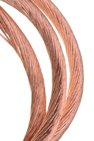 Copper cable isolated on white background photo