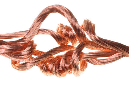 energy industry: Copper wires, symbol of power energy industry  Stock Photo