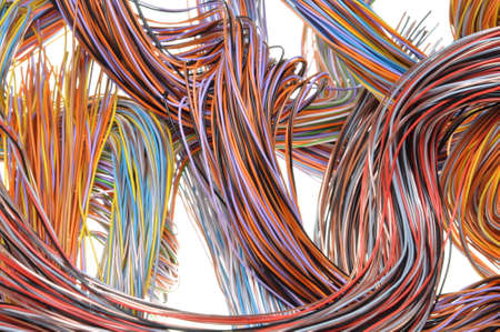 Multicolored computer network cable isolated on white background photo
