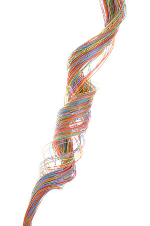 Multicolored computer cable isolated on white background photo