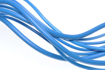 power cables: Blue electric power cables isolated on white background