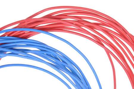 Bunch electrical cables isolated on white background photo