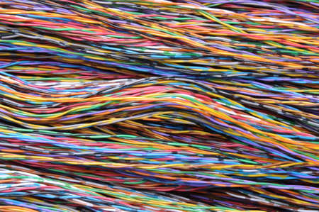 Bundles of colorful network cables photo